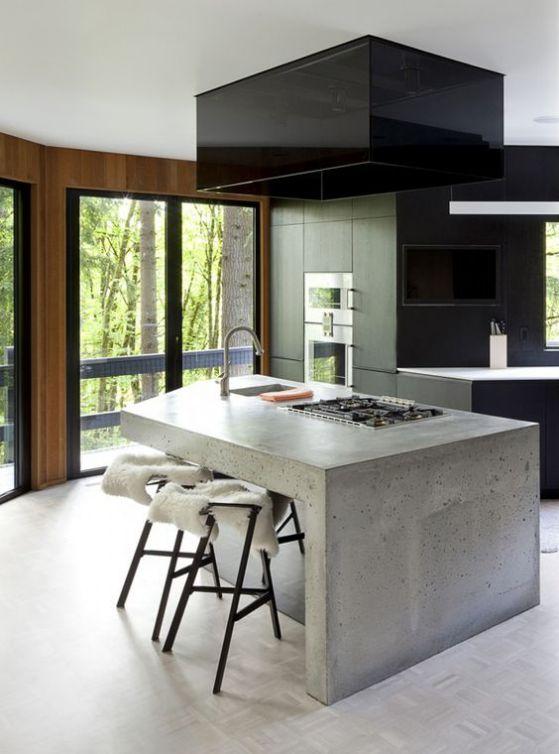 cemento y madera cocinas integrales