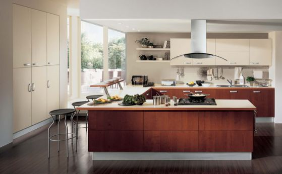 cocina moderna grande en u
