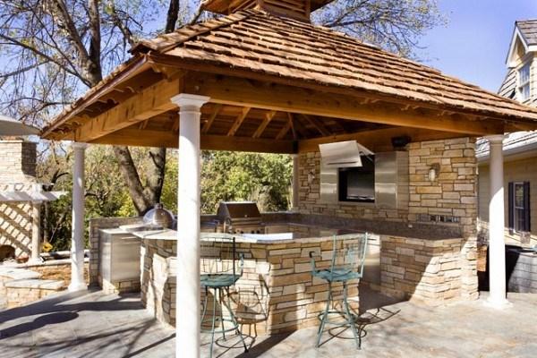 cocina exterior con ladrillos