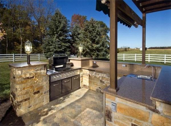 cocina exterior en piedra al aire libre