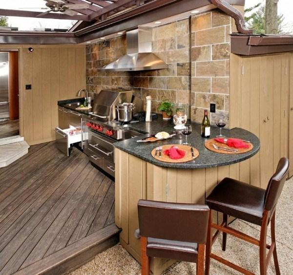 cocina exterior techada