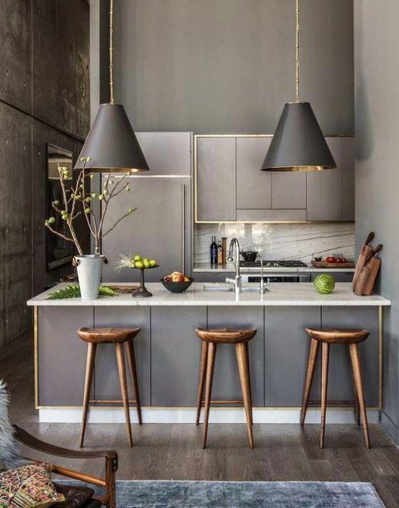 cocina moderna pequeña con barra