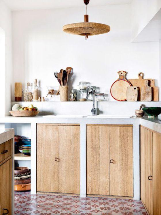 cocina pequeña rustica con isla