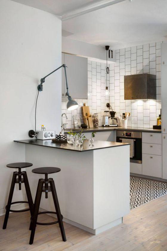 elegante cocina con barra