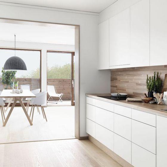 cocina de madera minimalista