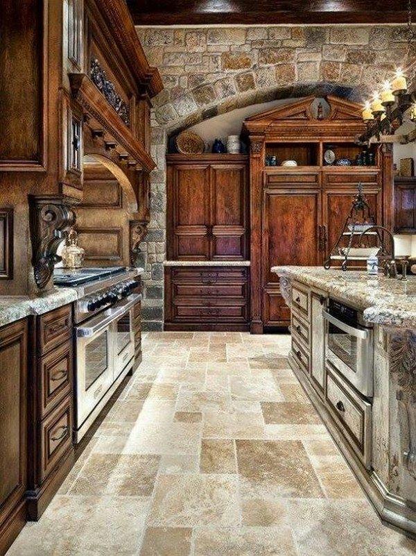 cocina grande estilo rustico