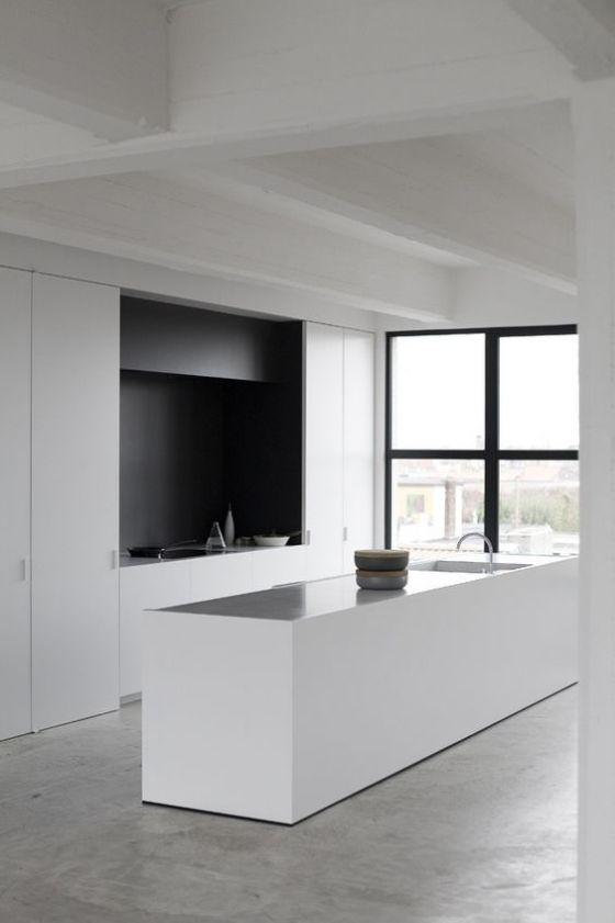 Cocinas minimalistas modernas pequeñas y grandes estilos 2019