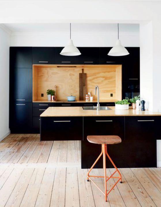 cocina negra elegante sencilla minimalista