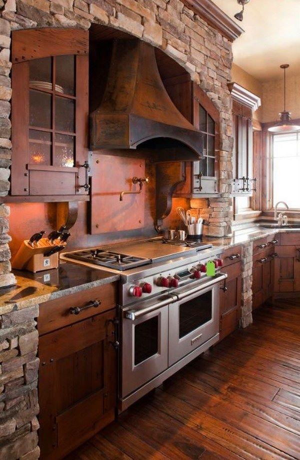 cocina rustica combinada con piedra y madera