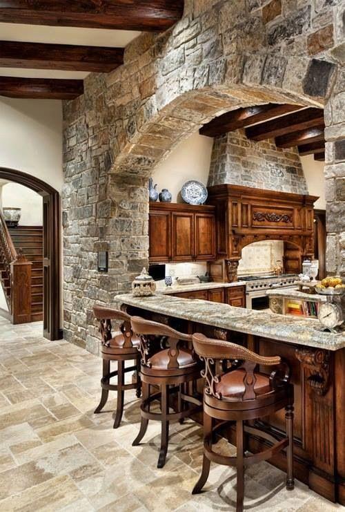 Cocinas r sticas de madera piedra ladrillo y dise os for Adornos para cocina rustica