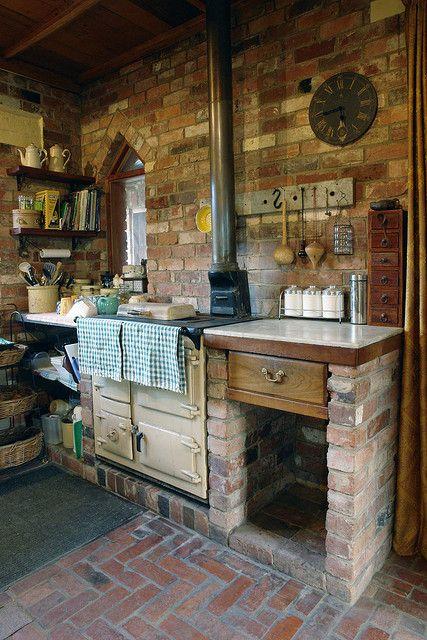 Cocinas r sticas de madera piedra ladrillo y dise os - Cocina de ladrillo ...