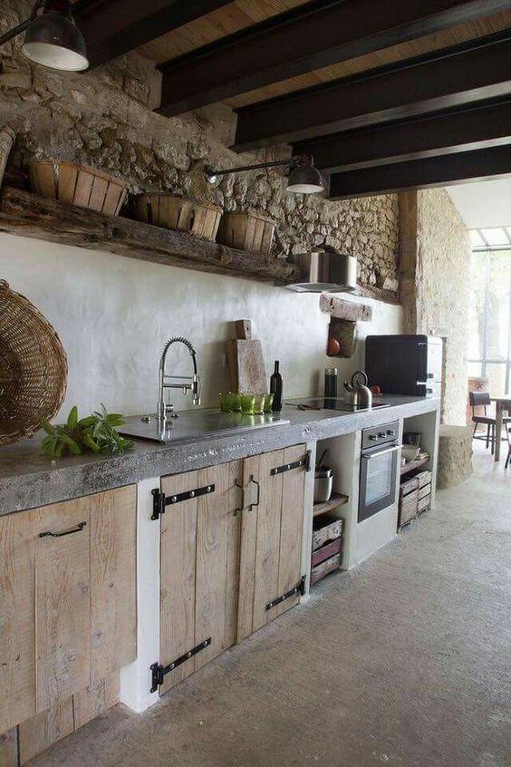 Cocinas r sticas de madera piedra ladrillo y dise os espectaculares - Cucine concreta ...
