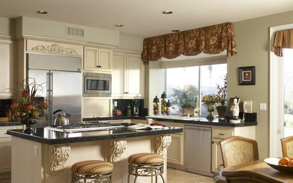 cocinas grandes y elegantes cortinas