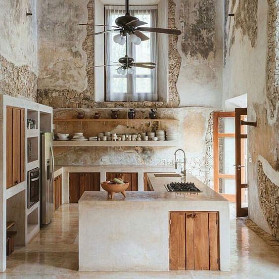 Cocinas r sticas de madera piedra ladrillo y dise os - Cocinas de obra rusticas ...