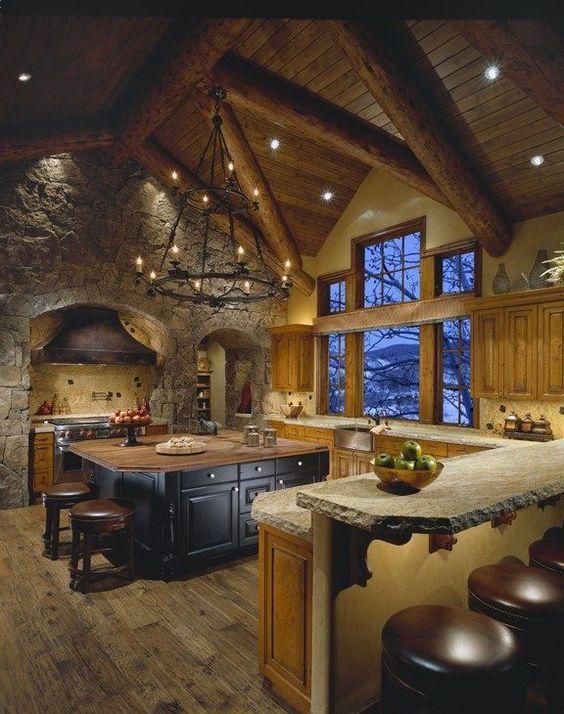 Cocinas r sticas de madera piedra ladrillo y dise os - Lamparas para cocinas rusticas ...