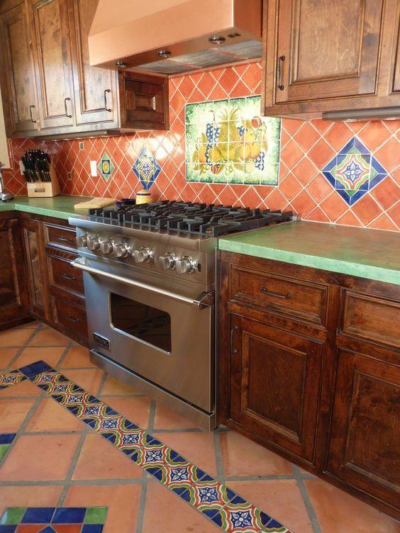 Cocinas r sticas de madera piedra ladrillo y dise os espectaculares - Azulejo para cocina rustica ...