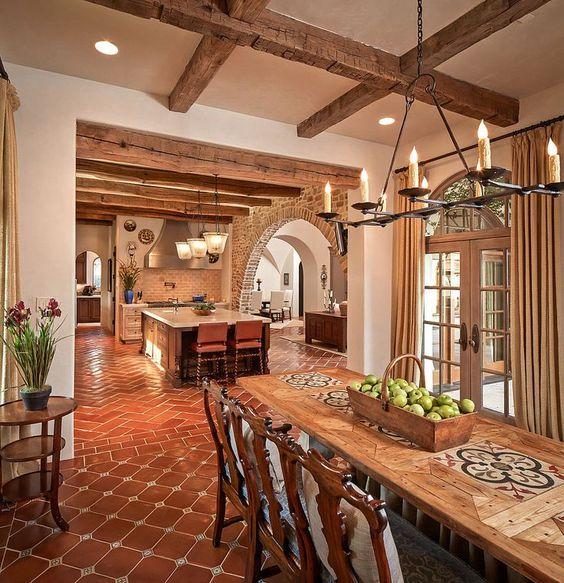Cocinas r sticas de madera piedra ladrillo y dise os for Cocinas coloniales modernas