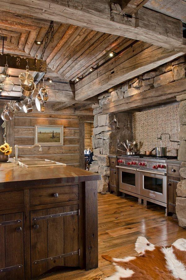 cocinas rusticas para cabañas de madera