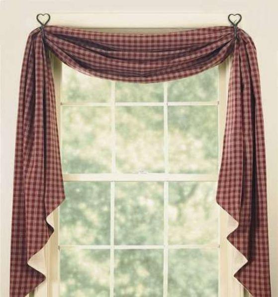 cortina roja para cocina