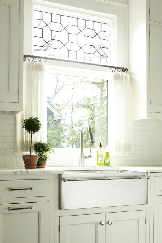 cortinas blancas de cocina