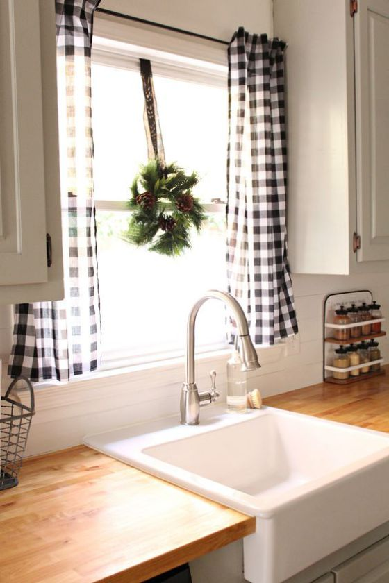 cortinas de cocina a cuadros