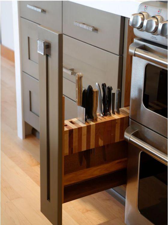 espacio para guardar cuchillos en la cocina