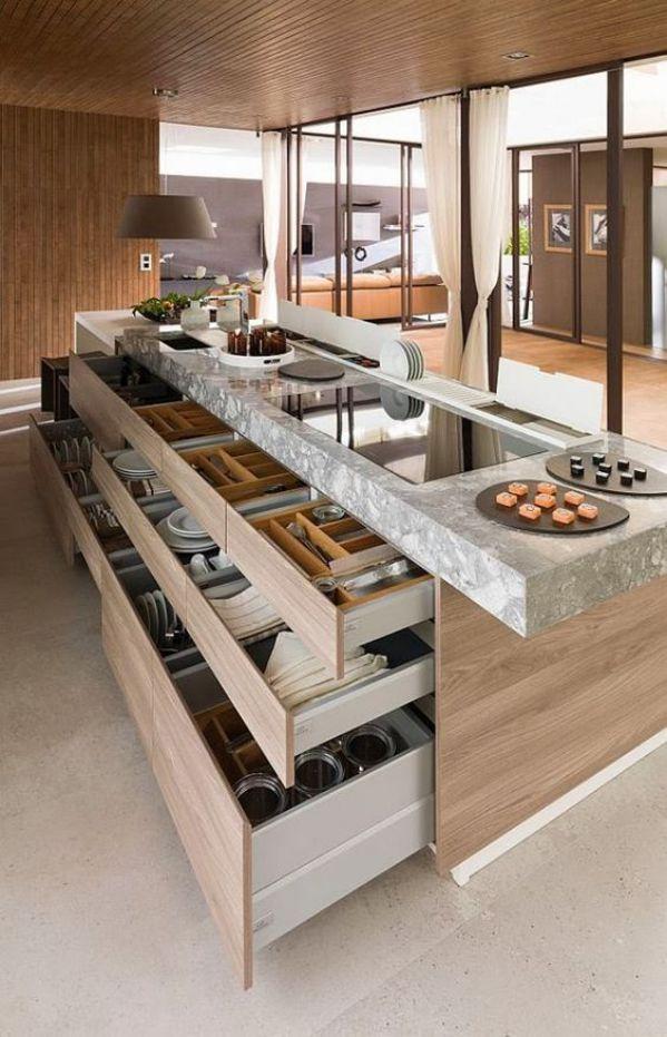 gabinetes largos diseño cocina