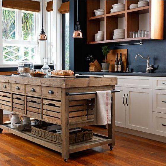 Muebles de madera para cocina dise os r sticos modernos - Islas de cocina moviles ...