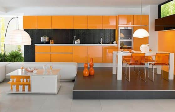 cocina-decorada-en-color-naranja