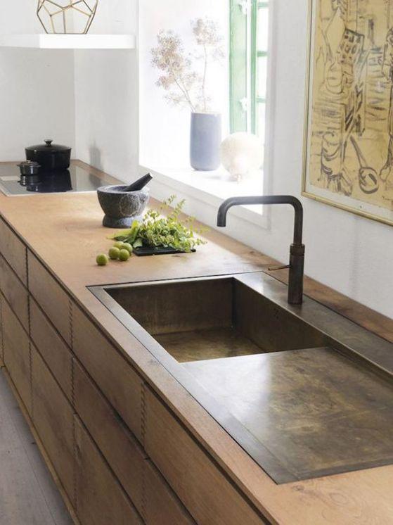 cocina minimalista estilo madera