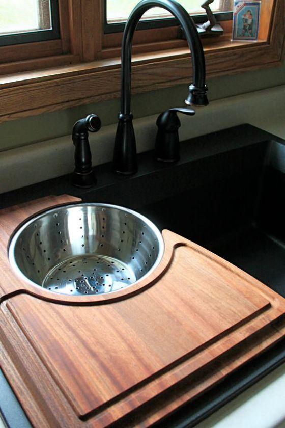 lavado de cocina de madera
