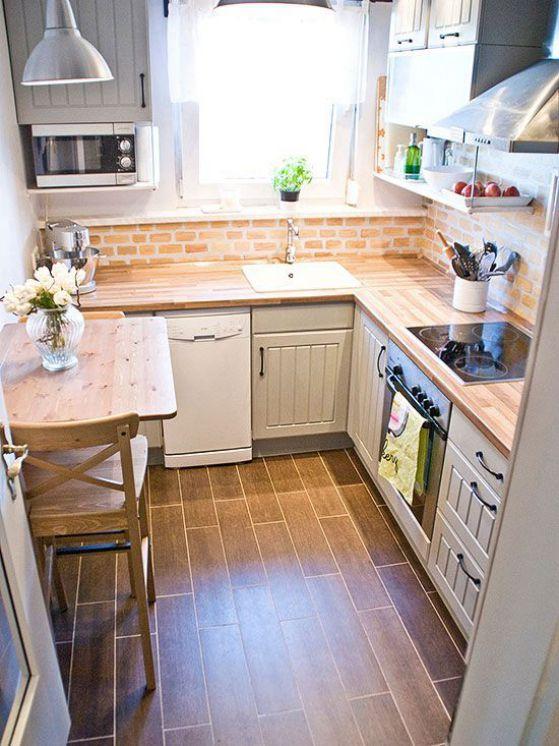 muebles de madera para cocina pequeña
