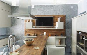 Cocinas con barra. ¿Madera o cemento? La elección es tuya.