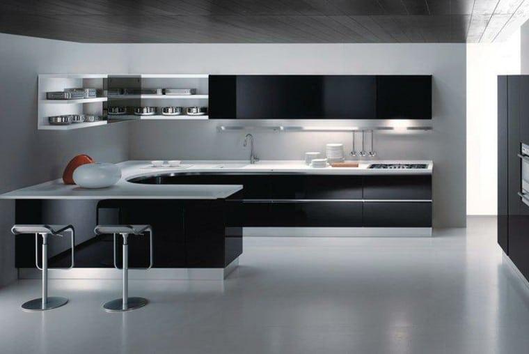Cocinas Blancas Negras Curvada (2)