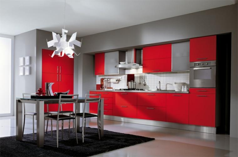 Cocinas En Rojo Gris