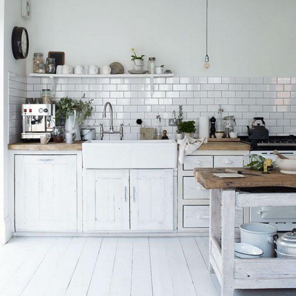 Espacios Cocinas Vintage Pintada De Blanco